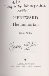 Hereward The Immortals Signed page